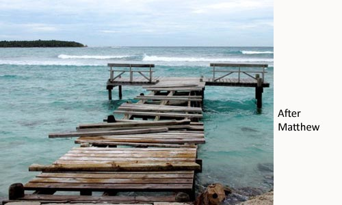 Long Caye dock after Hurricane Matthew