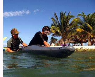 Belize kayak rolling classes on Long Caye