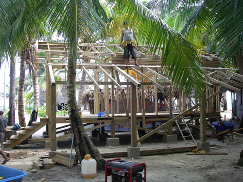 Building Belize cabana