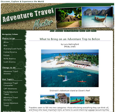Adventure Travel Mentor Belize article