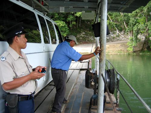 Operating the Xunantunich ferry