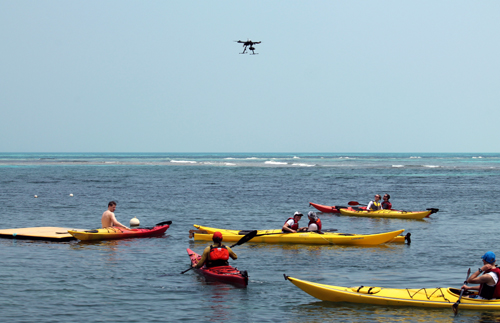 Our guests were great as this noisy mosquito-like creature buzzed above their heads during sea kayak orientation.