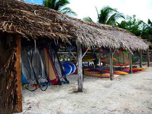 Our surf kayaks are always stored out of the sun, along with our windsurf gear