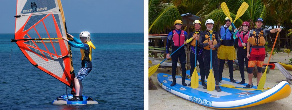 Photos of us using booties for EVERY sport we do in Belize