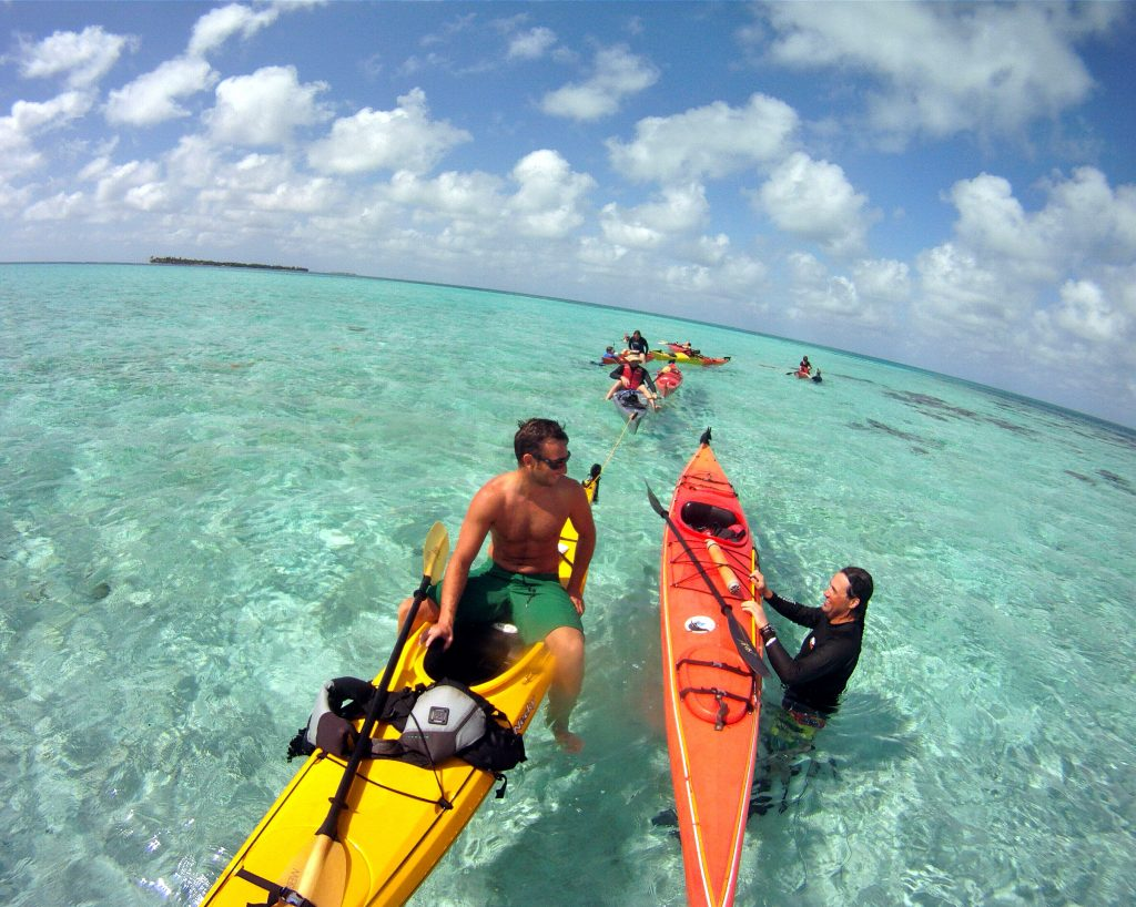 picture of us having kayaked out to patch coral for snorkeling