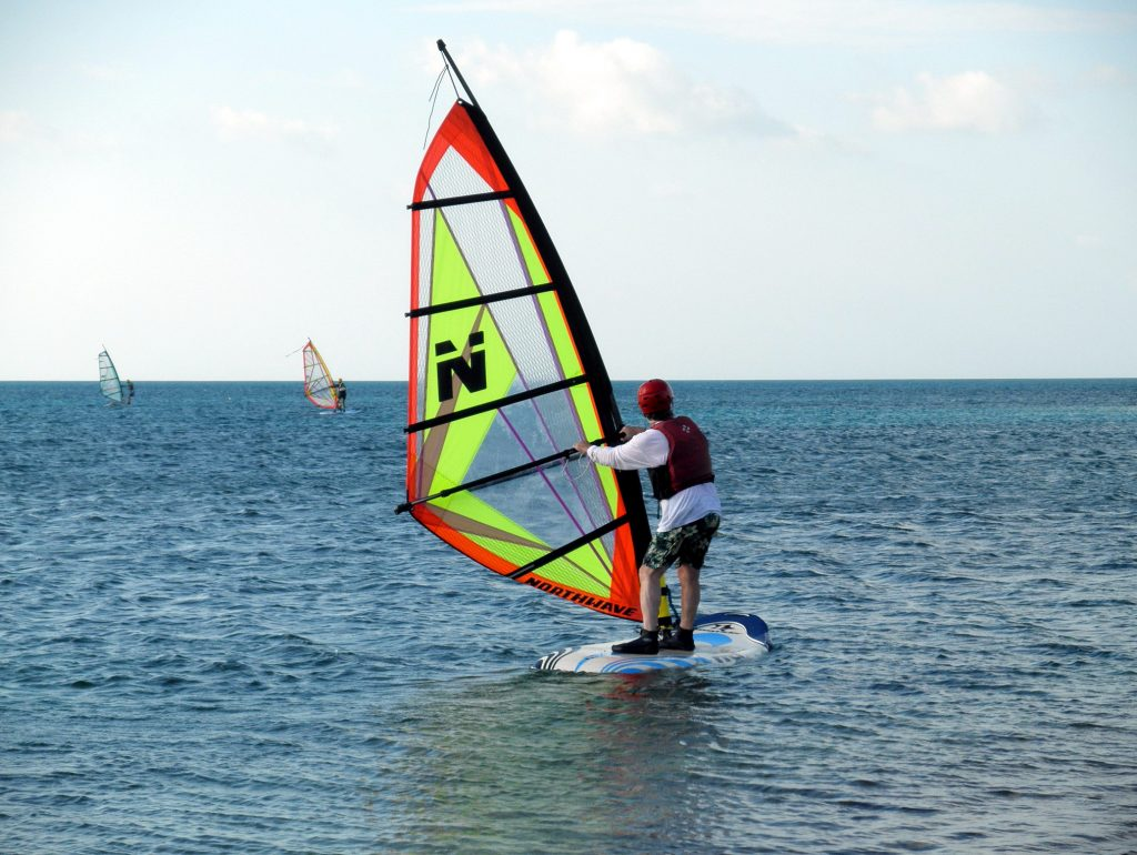 Windsurfing on Long Caye