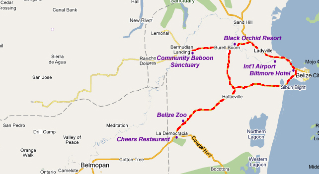 belize one day tour map